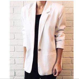 Vtg 90s oversize long blazer shoulder pads jacket